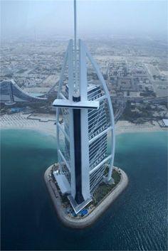 Burj Al Arab is a luxury hotel located in Dubai, United Arab Emirates. At 321 m ft), it is the fourth tallest hotel in the world. Unique Buildings, Interesting Buildings, Amazing Buildings, Burj Al Arab, Wonderful Places, Beautiful Places, Visit Dubai, Dubai Uae, Dubai Hotel