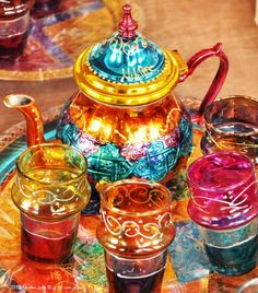 Tea set from #Morocco - makes me all kinds of happy just to look at it! #bohochic