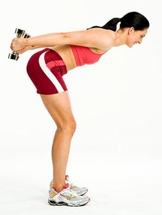 Beginner: Triceps Kickback Targets: Triceps Stand with feet hip-width apart, knees slightly bent, a dumbbell in each hand, palms facing in. Hinge forward from hips until back is almost parallel to floor, keeping back straight. Bend both elbows 90 degrees by sides, then straighten arms behind you; bend elbows 90 degrees again and repeat. Do 12 reps.