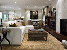 living room recessed lighting; Cozy - gold, khaki, cream, white. Lovely!