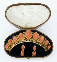 Victorian Etruscan Revival  14k Coral Cameo Jewelry