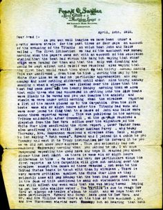 Dated April 18, 1912, a typed letter from John Snyder's father Frank to his brother Fred details the aftermath of the historic incident from his perspective. (Page 1 of 2)