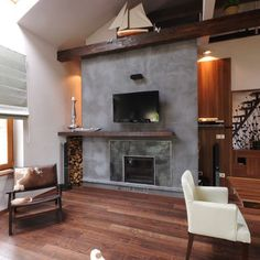 contemporary - living room fireplace