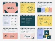 It's been a pleasure working on the Pebble branding! Working on putting together the full case study now. Here's a look into the brand guide!Check out the Brass Hands website!Let's work togethe. Brand Guidelines Template, Design Guidelines, Brand Assets, Show And Tell, Brand Packaging, Style Guides, Web Design, Graphic Design, Brand Design