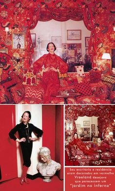 Diana Vreeland in her RED home - love this woman for her non traditional beauty. Have The eye has to Travel all qued  up in Netflix.