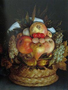 Giuseppe Arcimboldo, Reversible Head with Basket of Fruit, c. 1590. Art Experience NYC www.artexperiencenyc.com/social_login/?utm_source=pinterest_medium=pins_content=pinterest_pins_campaign=pinterest_initial