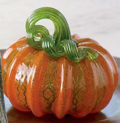Pumpkin Delight, Glass Pumpkins, Small Art, Vines, Glass Art, Sculpture, Orange, Fruit, Blown Glass