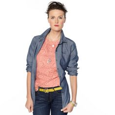FOSSIL® Clothing Blouses:Women Harper Chambray Shirt WC1427
