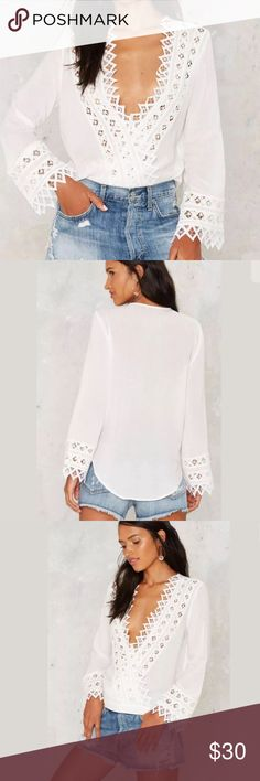 🆕Cotton Candy LA White Lace Blouse New without tags: A brand-new, unused,  and unworn item. The original tags may not be attached. **nasty gal item refer to site for sizing guide**  NO Trades   NO Holds (whoever first come to buy unless note otherwise) Nasty Gal Tops Blouses