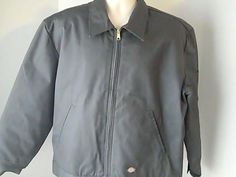 Dickies Mens L Gray Coat Jacket Insulated Polyester Cotton #Dickies #BasicCoat