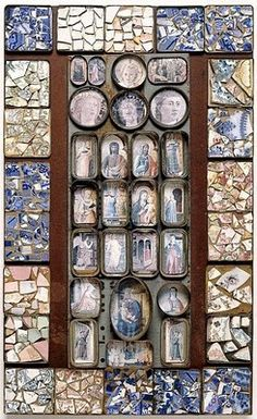 Mosaic by Rosalie Gascoigne. Fragments of decorated china, tins, timber, printed art reproductions on board.