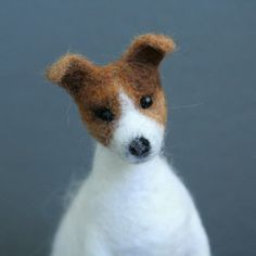 OOAK needle felted JACK RUSSELL TERRIER dog handmade by Sophie Z.