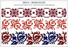 Semne Cusute: traditional Romanian motifs - OLTENIA: Dolj-Romana... Beaded Cross Stitch, Cross Stitch Borders, Cross Stitch Charts, Cross Stitch Designs, Folk Embroidery, Cross Stitch Embroidery, Embroidery Patterns, Stitch Patterns, Palestinian Embroidery
