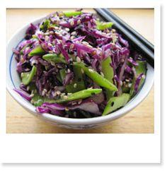 Red cabbage, snow pea & sesame salad - Kemis Raw Kitchen