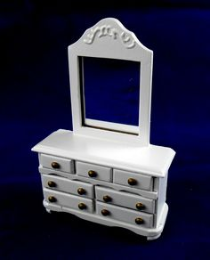 Dolls House Miniature 1:24 Scale Wooden Bedroom Furniture White Dressing  Table