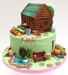 This cake was ordered for Marcia's birthday by her lovely daughter Laura! Been wanting to make a garden cake forever, this was my chance to make all those lovely little fiddly bits! You know you got it right when the customer nearly cries. Garden Birthday Cake, 80 Birthday Cake, Unique Cakes, Creative Cakes, Fancy Cakes, Cute Cakes, Beautiful Cakes, Amazing Cakes, Fondant Cakes