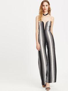 Plunge Sweetheart Neckline Striped Jumpsuit