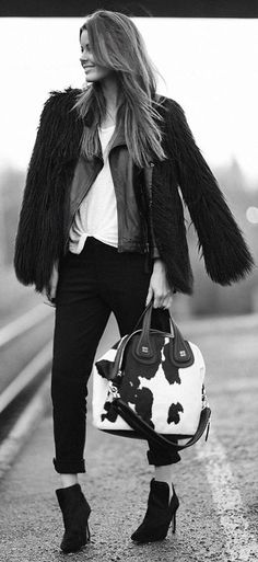 Black And White Cow Skin Print Tote by Stylista