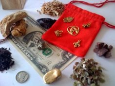 Assembled ingredients for a money drawing mojo bag