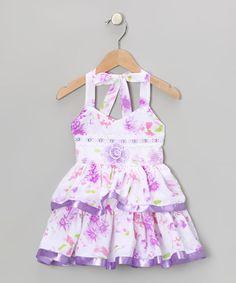Purple Floral Tiered Halter Dress - Toddler & Girls