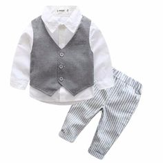 Formal Baby Boy Suit 3 pc. Set with Button Up Shirt, Vest, and Pants