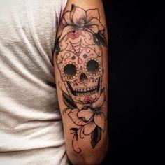 Sugar Skull Tattoo by Rafael Macieira