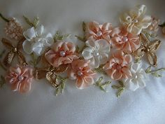 ribbon embroidery | Silk Ribbon Embroidery: Five Petal Flower, Gathered Ribbon Flower.