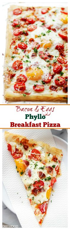 Bacon and Eggs Phyllo Breakfast Pizza | www.diethood.com | Crispy bacon, soft eggs and cherry tomatoes settled on top of phyllo sheets smothered with a seasoned feta cheese spread. Best Breakfast Pizza in TOWN!