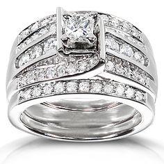 diamond me princess diamond wedding ring set 1 110 carat - Wedding Rings At Kmart