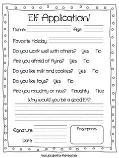 Elf Application form, it would be cute to do the fingerprints red and/or green.