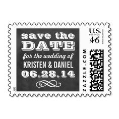 Wedding Save the Date Postage Stamps | Custom Vintage Black Chalkboard Design #chalk #chalkboard