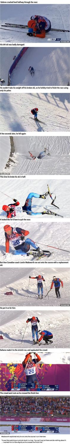Russian Cross Country Skier Breaks Ski, Canadian Coach Helps Him Finish The Race