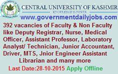 CUK RECRUITMENT 2015 FACULTY AND NON-FACULTY VACANCIES ~ Government Daily Jobs