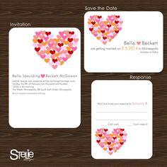 Modern Wedding Invitation Hearts - Sample set. $5.00, via Etsy.