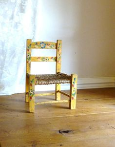 Vintage Mexican Handpainted Childs Chair  Mexican by atopdrawer, $18.50