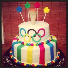 Olympic themed birthday cake
