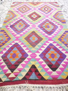 Pink Kilim Area Rug Hand woven Colorful Turkish Kilim Carpet Modern Bohemian Home Decor FAST & FREE SHIPPING