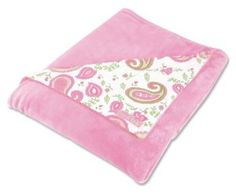 """Trend Lab Receiving Blanket in Paisley Park Print Front/Pink Velour Back by Trend Lab. $17.58. Measure 30"""" x 40"""". Receiving blanket with Chocolate Blocks print. Printed fabric on one side reverses to soft velour. front: 100% cotton; back: pink 100% polyester. From the Manufacturer                This receiving blanket features Paisley Park print and reverses to soft pink velour. Blanket measures 30"""" x 40"""".                                    Product Description              ..."""