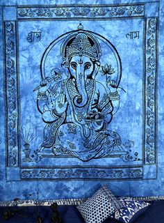 Ganesha Indian Tapestry Wall Hanging Bed Spread by Joyacreations, $21.99