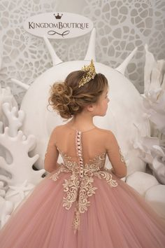 Items similar to Blush pink and Gold Flower Girl Dress - Birthday Wedding Party Holiday Bridesmaid Flower Girl Blush pink and Gold Tulle Lace Dress on Etsy Gold Flower Girl Dresses, Blush Pink Wedding Dress, Lace Flower Girls, Little Girl Dresses, Gold Tulle, Tulle Lace, Lace Dress, Bridesmaid Flowers, Bridesmaid Dresses