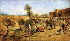 File:Weeks Edwin Lord Arrival of a Caravan Outside The City of Morocco.jpg