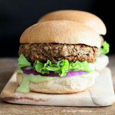 Spiced Lentil Walnut Burgers. Easy Flavorful Burger patties with avocado ranch. Vegan Burger Recipe. Soyfree Easily gluten-free | VeganRicha.com