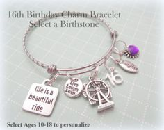 Custom 21st Birthday Expandable Charm Bracelet With Birthstone Personalized Gifts For Her Perfect