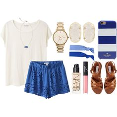 blue by okieprep on Polyvore featuring Acne Studios, Steve Madden, Kate Spade, Kendra Scott, Glam Bands and NARS Cosmetics