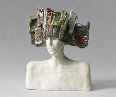 Small Ceramic Bust , Ceramic Sculpture , Fine Art Ceramic , Unique , Art Object , Figurine , Handmade , Clay , Ceramic Sculpture , Art Small Ceramic Bust. A mans Bust. Sculpture made of bright clay, partially covered (painted) with multicolored glazes. Decorated with fancy surfaces