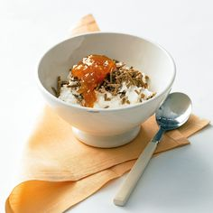 Cottage Cheese with Apricot Jam and Bran Cereal
