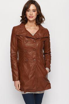 Faux Leather Longline Jacket