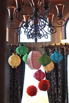 Lanterns and Tissue spheres for lighting and party decor from #Goodwill. #Hawaii #Party #Luau #thrift