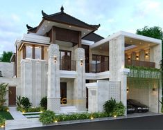 Heri Supriatianto Private House Design - Bandung- Quality house design of architectural services, experienced professional Bali Villa Tropical designs from Emporio Architect. Modern Exterior House Designs, Latest House Designs, Modern Architecture House, Exterior Design, Architecture Design, Bali House, House 2, Bali Style Home, Small Villa