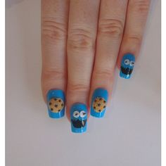 SALE Cookie monster fake nails, Cookie monster nails, Fake nails, Nail... ($29) ❤ liked on Polyvore featuring beauty products, nail care, nail treatments, nails, beauty, makeup and nail art